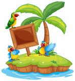 与三只鹦鹉的场面在海岛上 向量例证