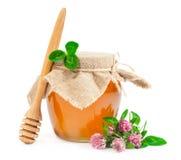 与三叶草的甜蜂蜜 库存照片