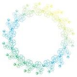 与三叶草等高的梯度颜色圆的框架 光栅剪贴美术 免版税库存照片