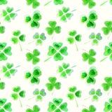 与三叶草水彩叶子的无缝的样式您的设计的 免版税库存照片