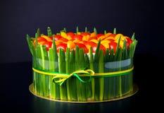 与三文鱼、葱和c的可口自创开胃菜蛋糕 图库摄影