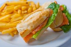与三文鱼、蕃茄、乳酪和金黄炸薯条土豆的三明治 图库摄影
