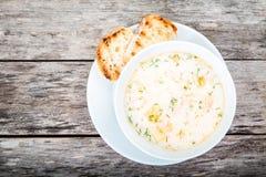 与三文鱼和奶油的自创汤用油煎方型小面包片 免版税库存照片