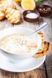 与三文鱼和奶油的自创汤用油煎方型小面包片 库存图片