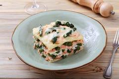 与三文鱼和芦笋的意大利烤宽面条 免版税库存照片