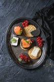与三文鱼和莓果的黑薄脆饼干 库存照片