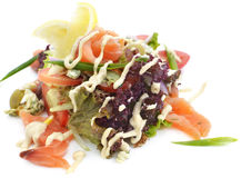 与三文鱼和菜的沙拉 库存照片
