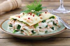 与三文鱼和菠菜的意大利烤宽面条 免版税库存图片
