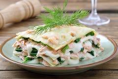 与三文鱼和菠菜的意大利烤宽面条 库存照片