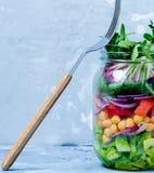 与三文鱼层数的蔬菜沙拉  免版税库存图片