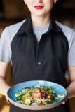 与三文鱼的菜沙拉 免版税图库摄影