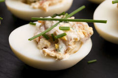 与三文鱼的被充塞的鸡蛋 免版税库存照片