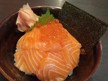 与三文鱼(三文鱼唐)的日本米 图库摄影