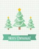 与三根冷杉木的圣诞卡 免版税库存图片