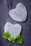与三棵幸运的三叶草的两个灰色心形的岩石在瓦片 免版税库存图片