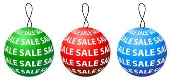 与三种颜色的销售标记圆的设计 免版税库存照片