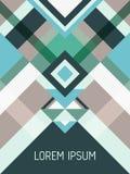 与三角和条纹样式的封页布局传染媒介模板几何设计在小野鸭,绿松石,灰色 免版税库存照片