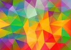 与三角多角形的多色几何背景 抽象设计 也corel凹道例证向量 库存例证