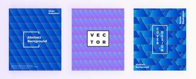 与三角形状的现代抽象几何背景 几何盖子设计,明亮的蓝色梯度塑造 des的模板 皇族释放例证