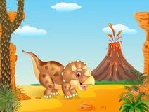 与三角恐龙三有角的dinosaurin的史前场面 库存照片