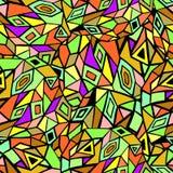 与三角的抽象减速火箭的几何无缝的样式 免版税库存照片