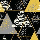 与三角的抽象几何无缝的重复样式 库存例证
