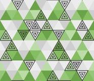 与三角的无缝的几何绿色样式 向量例证
