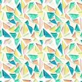 与三角的水彩无缝的样式在淡色 免版税图库摄影