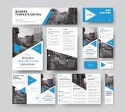 与三角蓝色设计元素的公司样式集合, diagon 皇族释放例证
