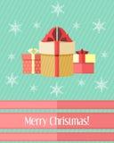 与三件礼物的圣诞卡 免版税图库摄影