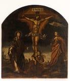 与上帝、抹大拉的马利亚和圣约翰的母亲的在十字架上钉死 免版税库存图片