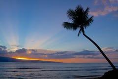 与上帝射线的海岛日落 免版税库存照片