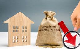 与下来词投资好看的金钱袋子和与房子的箭头 下跌的好看和投资的概念 免版税图库摄影