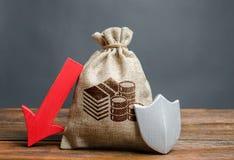 与下来金钱标志、盾和红色箭头的袋子 落的流动资产储蓄,丢失储款可能  ?? 库存照片