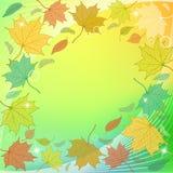 与下落的叶子和闪闪发光的秋天背景 免版税库存图片
