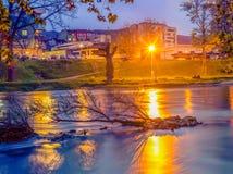 与下落的树的河流程在水中 免版税库存图片