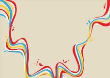 与下落的黄色,蓝色,白色,红色弯曲的线 免版税库存照片