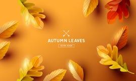 与下跌的叶子设计的秋天背景 库存例证