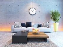与下面轻混凝土墙壁的客厅室内设计 免版税库存照片