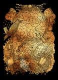与不可思议的书、乌鸦、黄道带星座、十字架和精神标志的神秘的例证 皇族释放例证