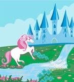 与不可思议的城堡和美好的独角兽的童话风景 库存例证
