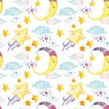 与不可思议的太阳、月亮、逗人喜爱的小的星和神仙的云彩的水彩童话无缝的样式 免版税库存图片