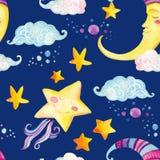 与不可思议的太阳、月亮、逗人喜爱的小的星和神仙的云彩的水彩童话无缝的样式 库存图片