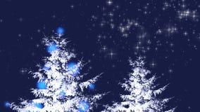 与不可思议的树的圣诞卡片 库存例证