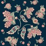 与不可思议的花的无缝的样式在黑暗的背景 织品的,枕头套的模板印刷品 也corel凹道例证向量 皇族释放例证