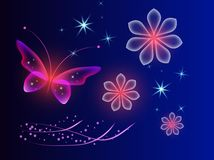 与不可思议的蝴蝶的发光的蓝色背景 透明图片和霓虹花 向量例证