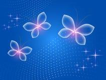 与不可思议的蝴蝶的发光的蓝色背景 透明蝴蝶和发光的星 向量例证