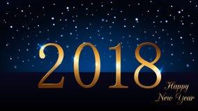 与不可思议的金雨的新年快乐背景 金黄第2018年 圣诞节设计光,充满活力,焕发和闪闪发光 皇族释放例证