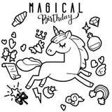 与不可思议的项目的逗人喜爱的独角兽和小马收藏,彩虹,神仙的翼,水晶,云彩,魔药 手拉的线型 免版税库存图片