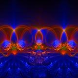 与不同和许多形状的深蓝和五颜六色的抽象分数维墙纸 免版税库存图片